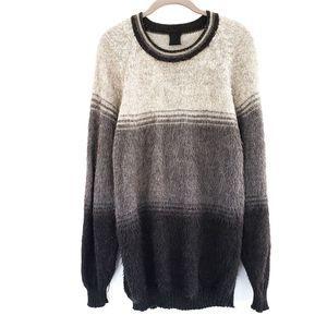 Ombre Striped Alpaca Pullover Sweater Gray Peru